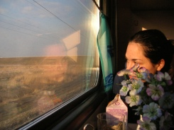 My friend Joanna looks out the Trans Siberian