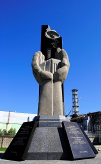 Monument to those who died, in front of Reactor 4